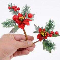 Pick Stella Natale con Bacche Rosse in Confezione da 12 Pick