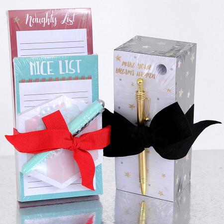 Block Notes e Penna in confezione con fiocco
