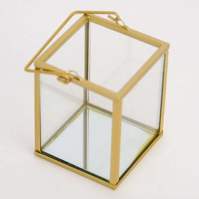 Lanterna vetro metallo dorato con manico