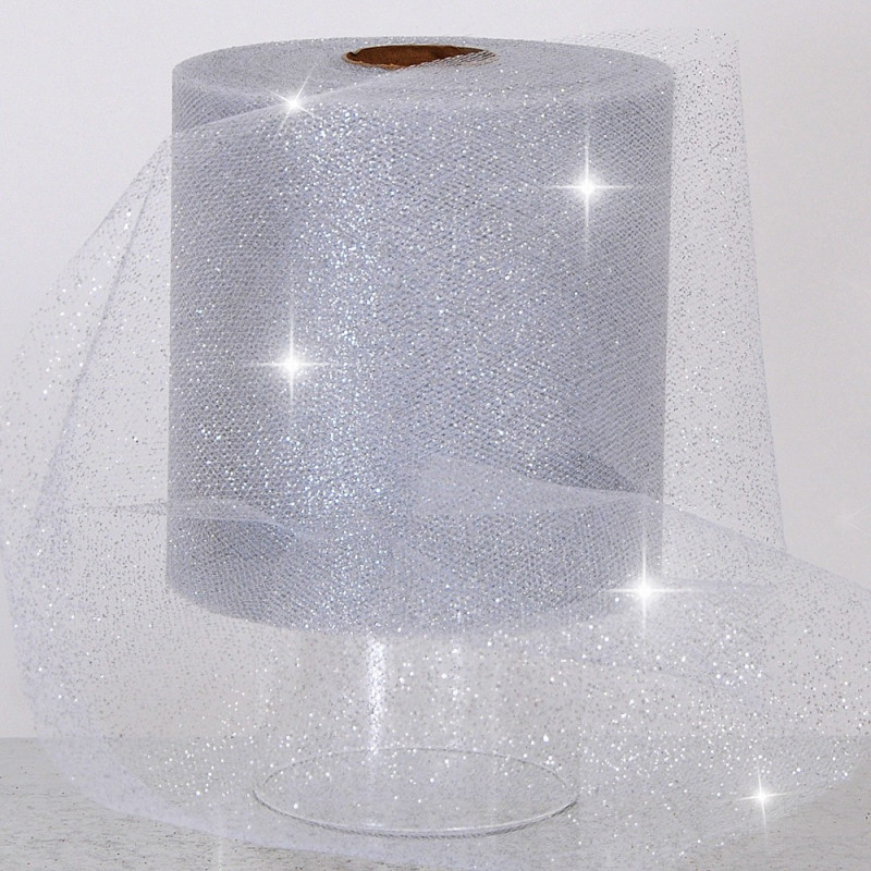 Rotoli Tulle Glitterati 12,5 cm argento