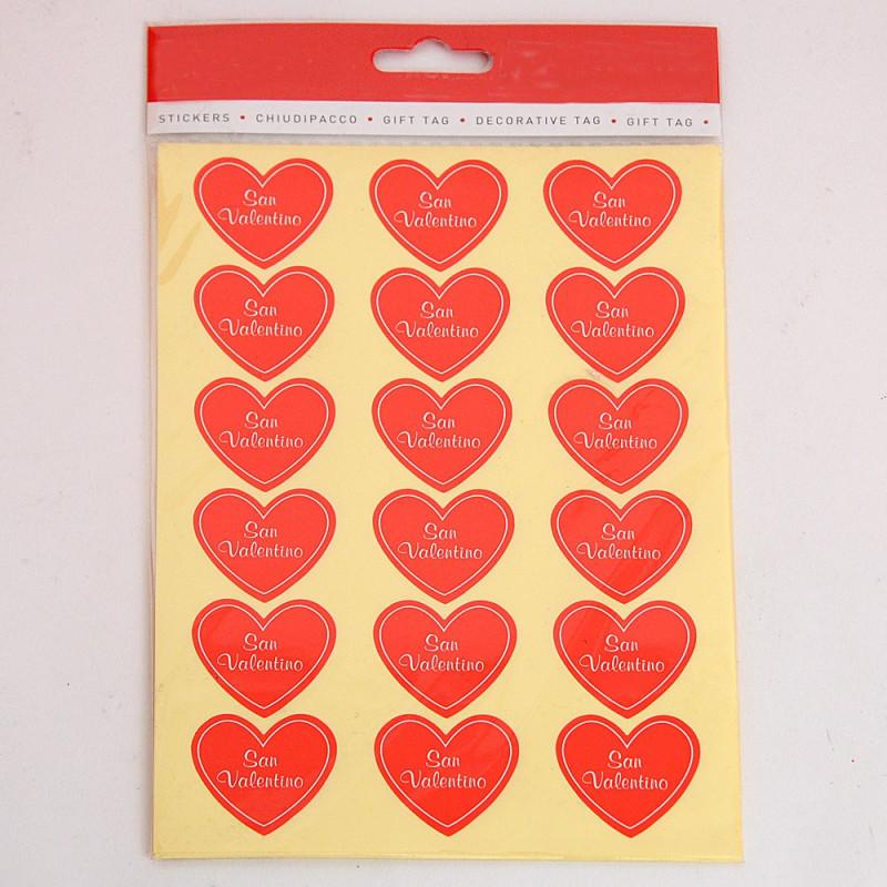 Blister da 240 etichette adesive Cuore San Valentino