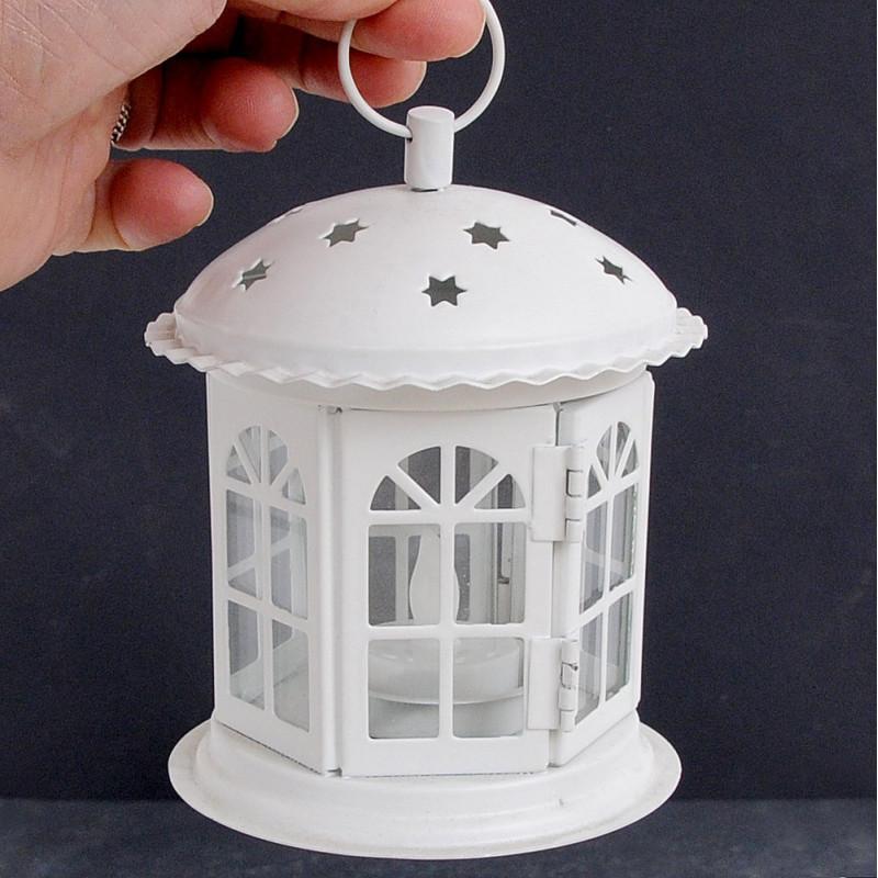 Lanterna in metallo con vetri e Stelline