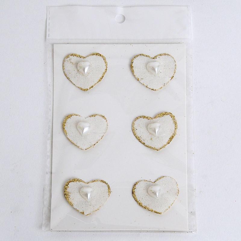 Cuore di lino con perla a cuore oro