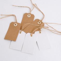 Etichette in Cartoncino Avana o Bianco con Cordino Asola in Metallo in Confezione da 48pz