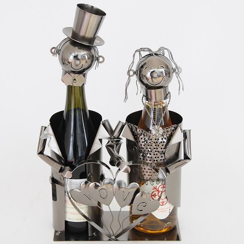 Porta 2 Bottiglie in Metallo Sposi Love