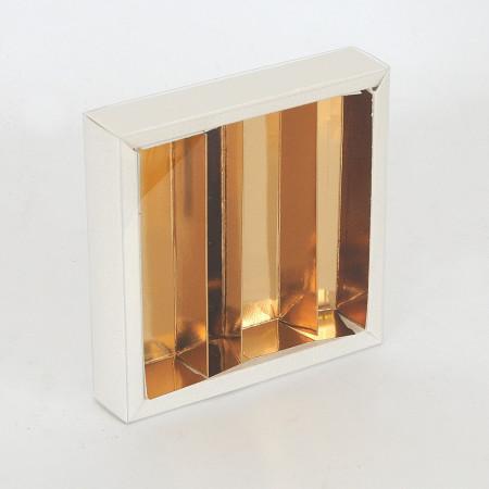 Scatola Quadretto chiusura trasparente e divisorio Pelle Bianca