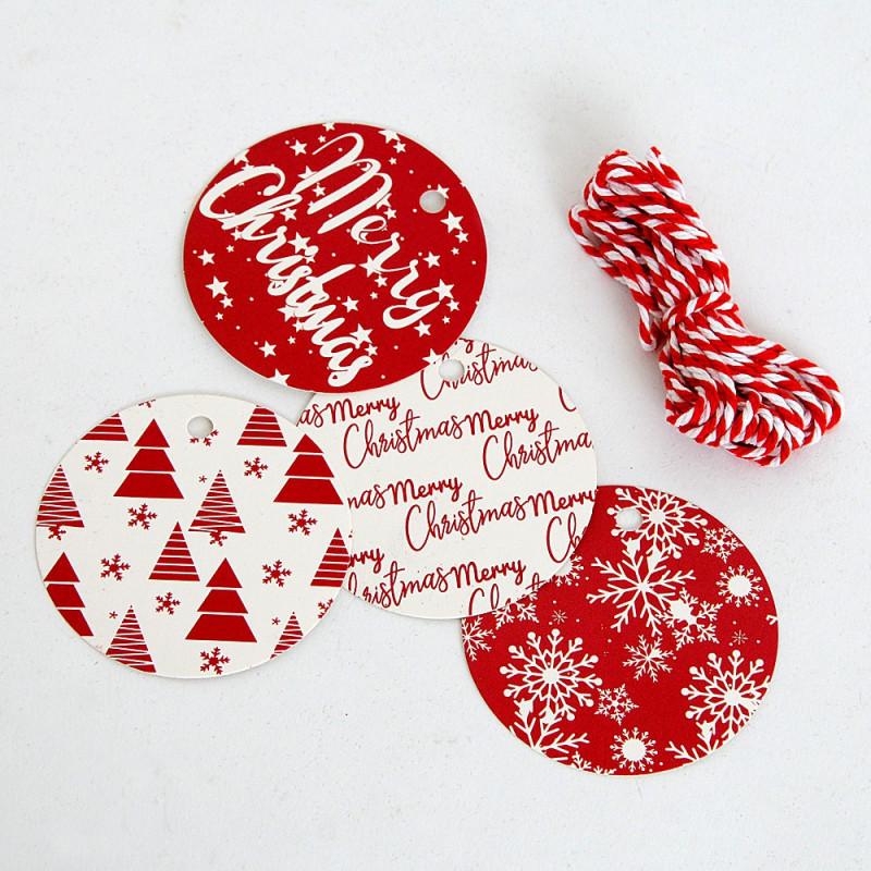 Etichette Natale tonde con cordino MIX
