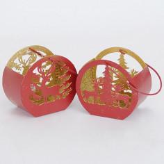 Lanterna Rosso Con interno oro Glitter