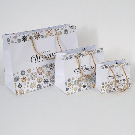 Shopper Carta Natale Elegance Bianco