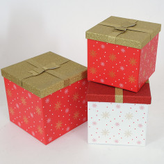 Set 3 scatole Natale Cristallo di Neve Quadrate