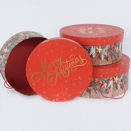 Set 3 scatole Merry Christmas Tonde