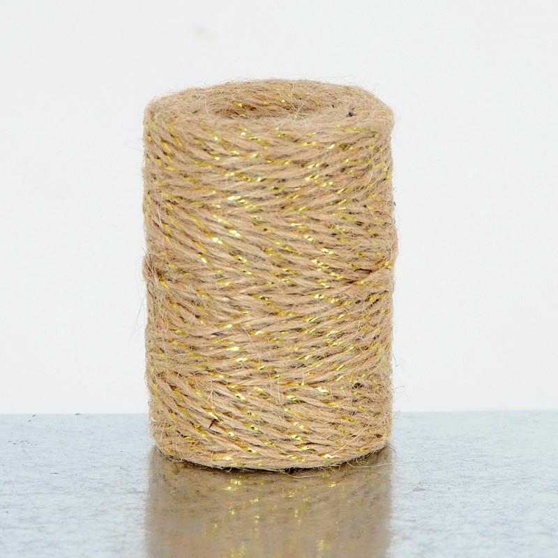 Cordini in Juta con filo dorato naturale