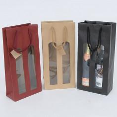 Borsa Vino 2 Bottiglie con Finestre