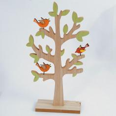 Alberello intagliato legno con uccellini