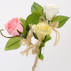 Rose con Gambo e Fiocco in Juta 9 cm