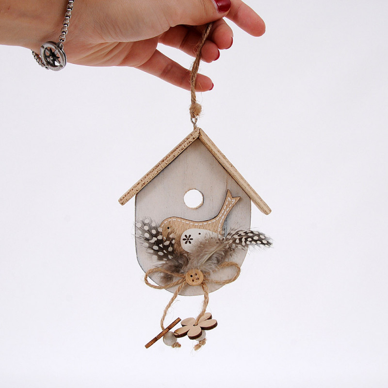 Casetta in legno con uccellino e piume BIANCA