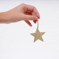 Set Natale di Pendagli in Legno: Stella Glitter