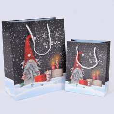 Borse Natale in Carta Manico in Cordoncino con Stampa Gnomo e Candele