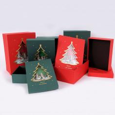 Scatola Natale Rettangolare con Coperchio con Finestra a Forma di Albero di Natale
