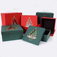 Scatola Natale Quadrata con Coperchio con Finestra a Forma di Albero di Natale