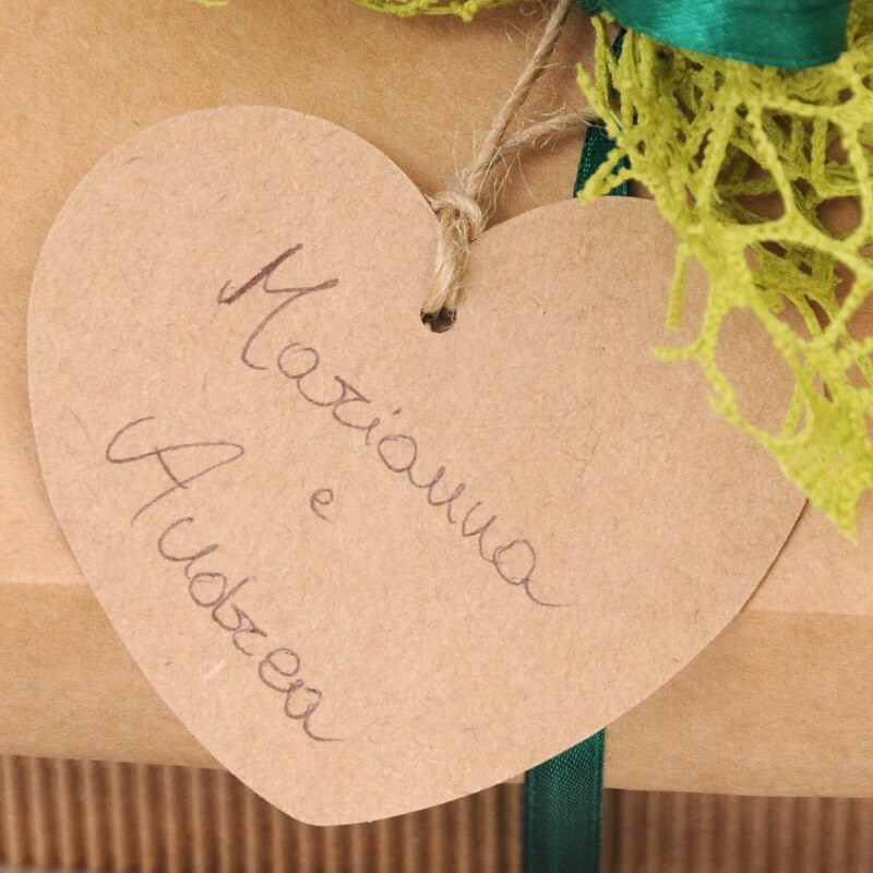 Etichetta Cuore in Cartoncino Avana