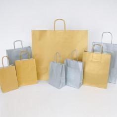 Borse in Carta Kraft con Manici Ritorti Oro e Argento