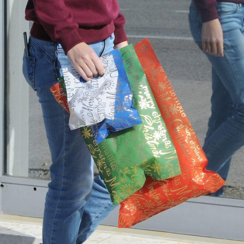 Sacchetti HD60MY Maniglia Fagiolo Merry Christmas 4 Colori Assortiti