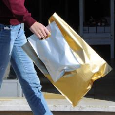 Borse in Plastica 60my con Soffietto e Maniglia Fagiolo Oro Argento
