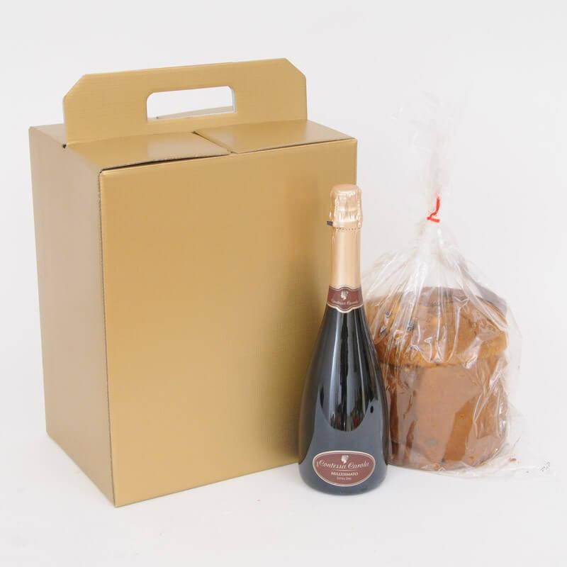 Scatola Natale Panettone e Bottiglia Seta Oro