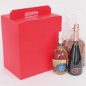 Scatola Natale Panettone e Bottiglia Seta Rosso