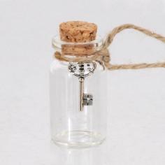 Mini Vasetto in Vetro con chiave portafortuna
