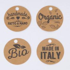 Etichette Avana Stampate con cordino: Concept Bio Ø 5cm.