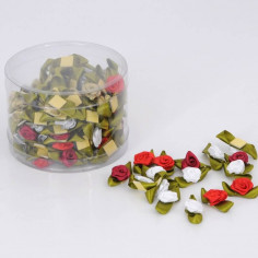 Scatola Roselline in Raso Adesive