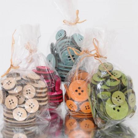 Bottoni di LEGNO in Confezione da 30pz di Varie Misure