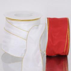Nastri regalo: in tessuto con profili oro animati 60mm ManHattan