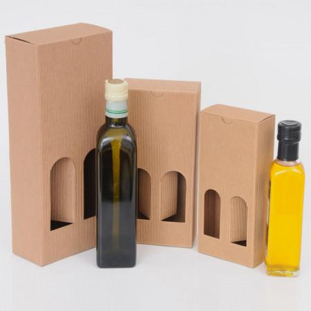 Scatole Olio Grappe: da 2 bottiglie onda avana con finestre