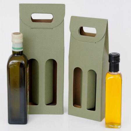 OLIVIA, Scatole da 2 Bottiglie adatte per OLIO e GRAPPE con Finestre, Texture Linea Verde