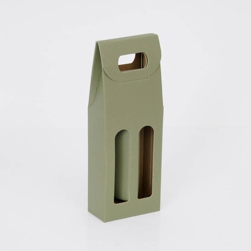 Scatole Olio Grappe: da 2 bottiglie finestra e maniglia linea verde
