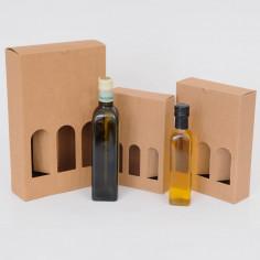 Scatole Olio Grappe: da 3 bottiglie onda avana con finestre