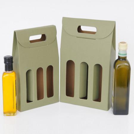 OLIVIA, Scatole da 3 Bottiglie adatte per OLIO e GRAPPE con Finestre, Texture Linea Verde