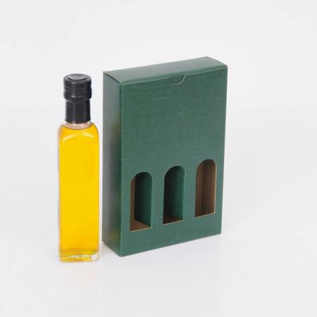 Scatole Olio Grappe: da 3 bottiglie finestra seta verde