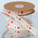 San Valentino: Nastro in Cotone con Cuori e piccoli quadrifogli