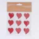 Stickers Cuori di legno incisi rossi