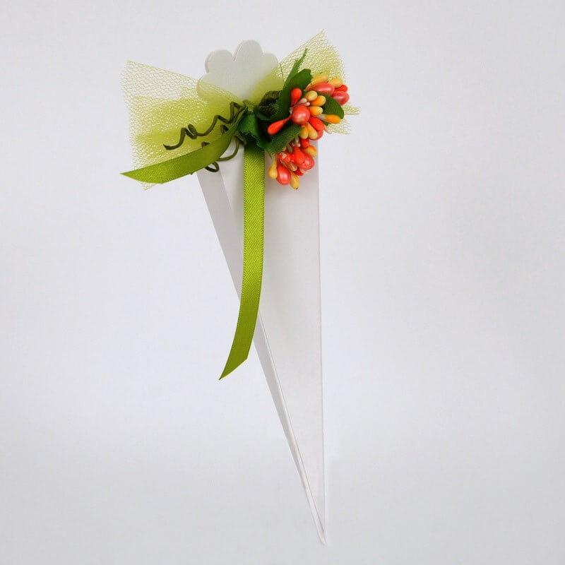 Bomboniera: cono seta bianca