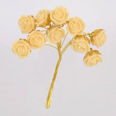 Roselline avorio con gambo dorato