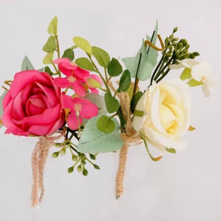 Rose con Gambo e Fiocco in Juta 14 cm