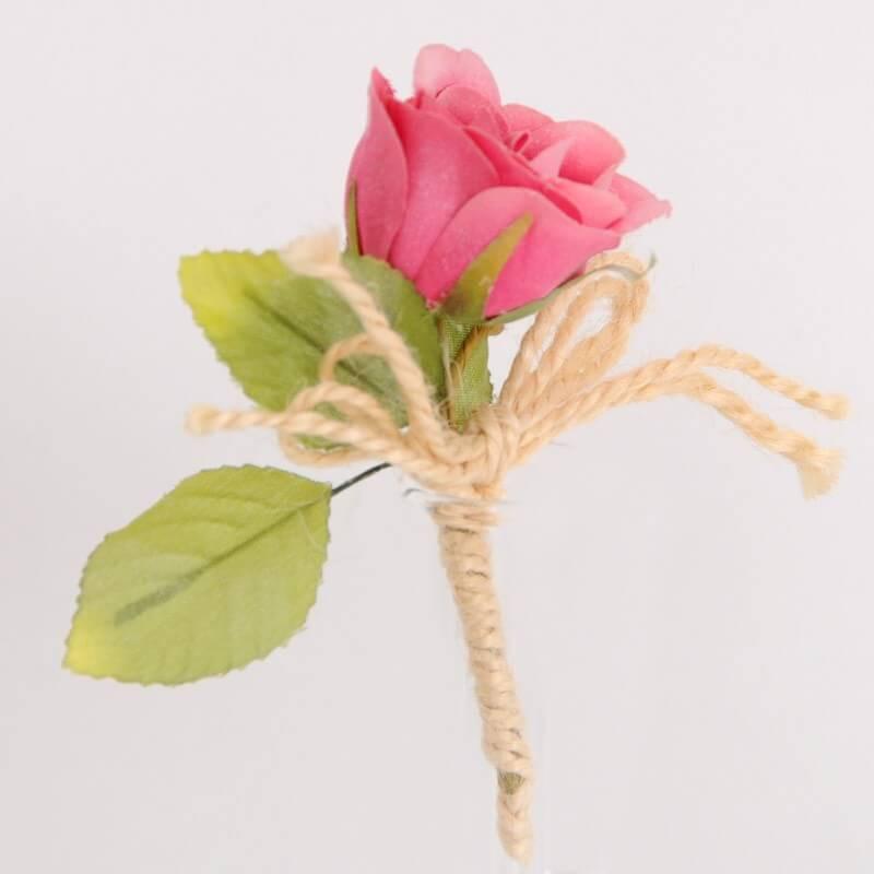 Rose con gambo e fiocco in juta