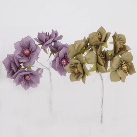 Mazzetto fiori in rasetto con perlina