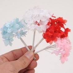 Mazzolini di fiori in raso con pistillo perlato