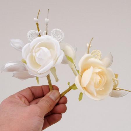 Rosa Nivea bouquet fiore unico porta confetti
